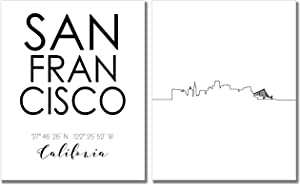 San Francisco City Skyline Wall Décor Prints - Set of 2 (8x10) Art Photos - Typography Minimalist Poster