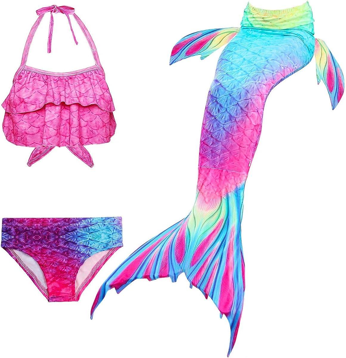 DH95RH,140 PaisDola Kids Girls Mermaid Swimming Costume Swimmable Bikini Swimsuit with Flower Garland Headband
