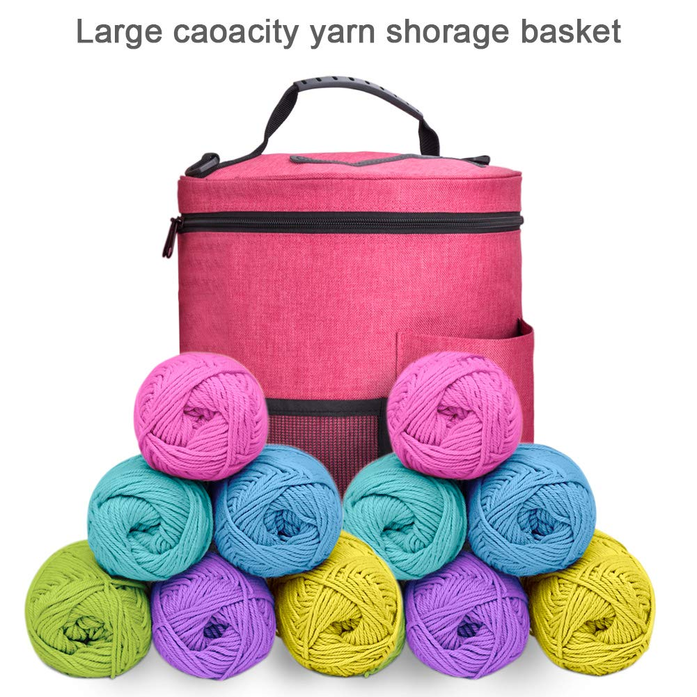 BCMRUN Knitting Tote Bag Set 3Pcs, Large Yarn Storage/Travel Baskets Knitting Organizer/Crochet Hook Bag with Zipper and Pockets for Home Traveling Crocheting Anywhere, Sturdy & Lightweight by BCMRUN (Image #3)