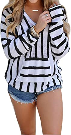 Womens Pullover Hooded Stripe Long Sleeve Tunic Top Short Sweatshirt with Kangaroo Pocket