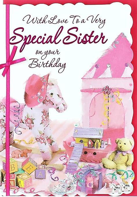 Tarjeta de cumpleaños - oro hermana oso y flores en el campo ...
