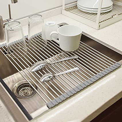 Amazon.com: Dish Drying Rack, VEEAPE 304 Stainless Steel Roll-Up ...