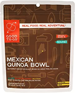GOOD TO-GO Mexican Quinoa Bowl | Dehydrated Backpacking and Camping Food | Lightweight | Easy to Prepare