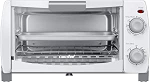 COMFEE' Toaster Oven Countertop, 4-Slice, Compact Size, Easy to Control with Timer-Bake-Broil-Toast Setting, 1000W, White (CFO-BB102) (Renewed)