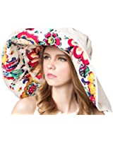 Bienvenu Womens Large Brim Floppy Foldable Roll up UPF 50+ Beach Sun Hat