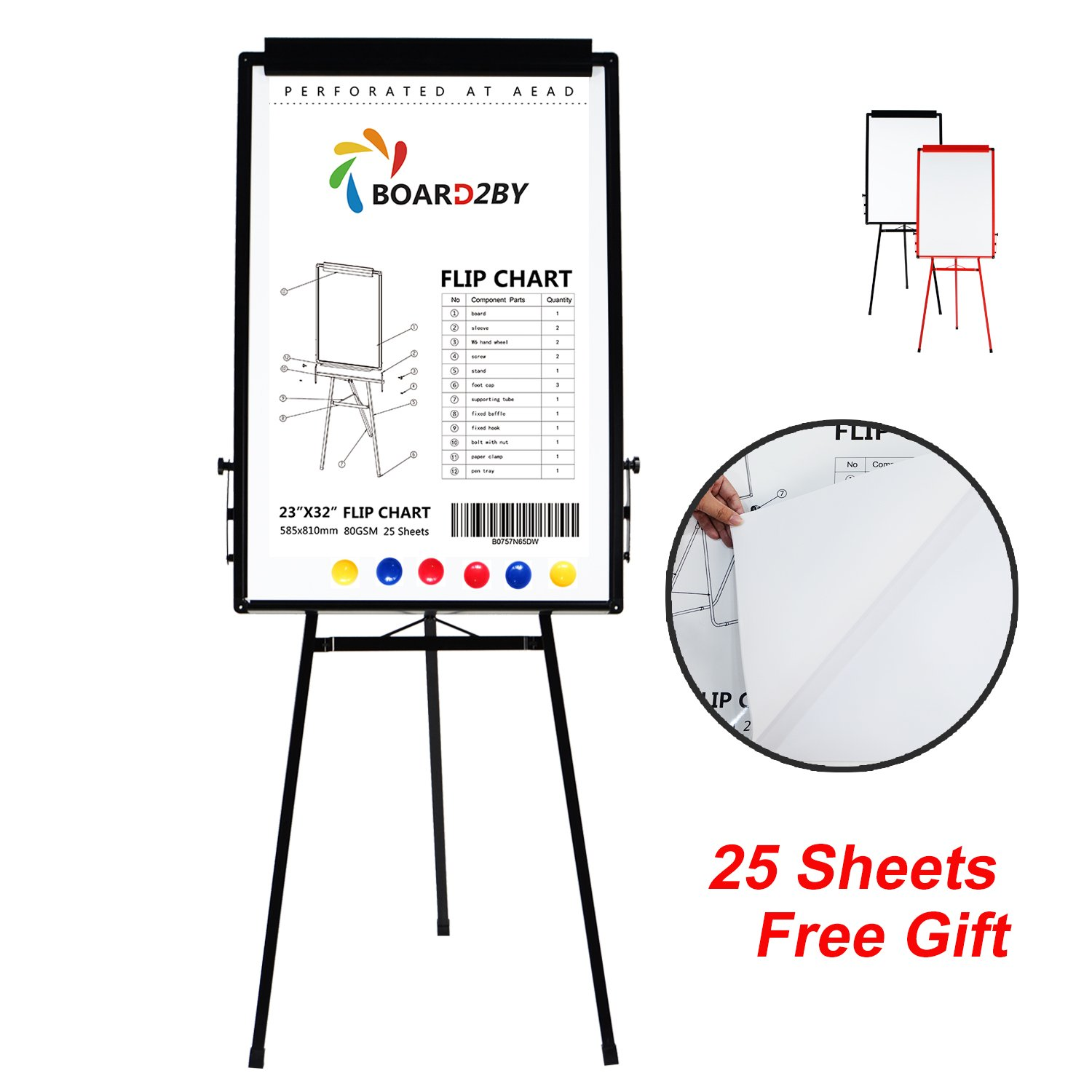 Board2by Tripod Whiteboard Stand/ Flipchart Easel - 24'' x 36'' Portable Aluminum Frame Magnetic White Dry Erase Board, 25-Sheet Easel Papers and 6 Magnets for Free, Black