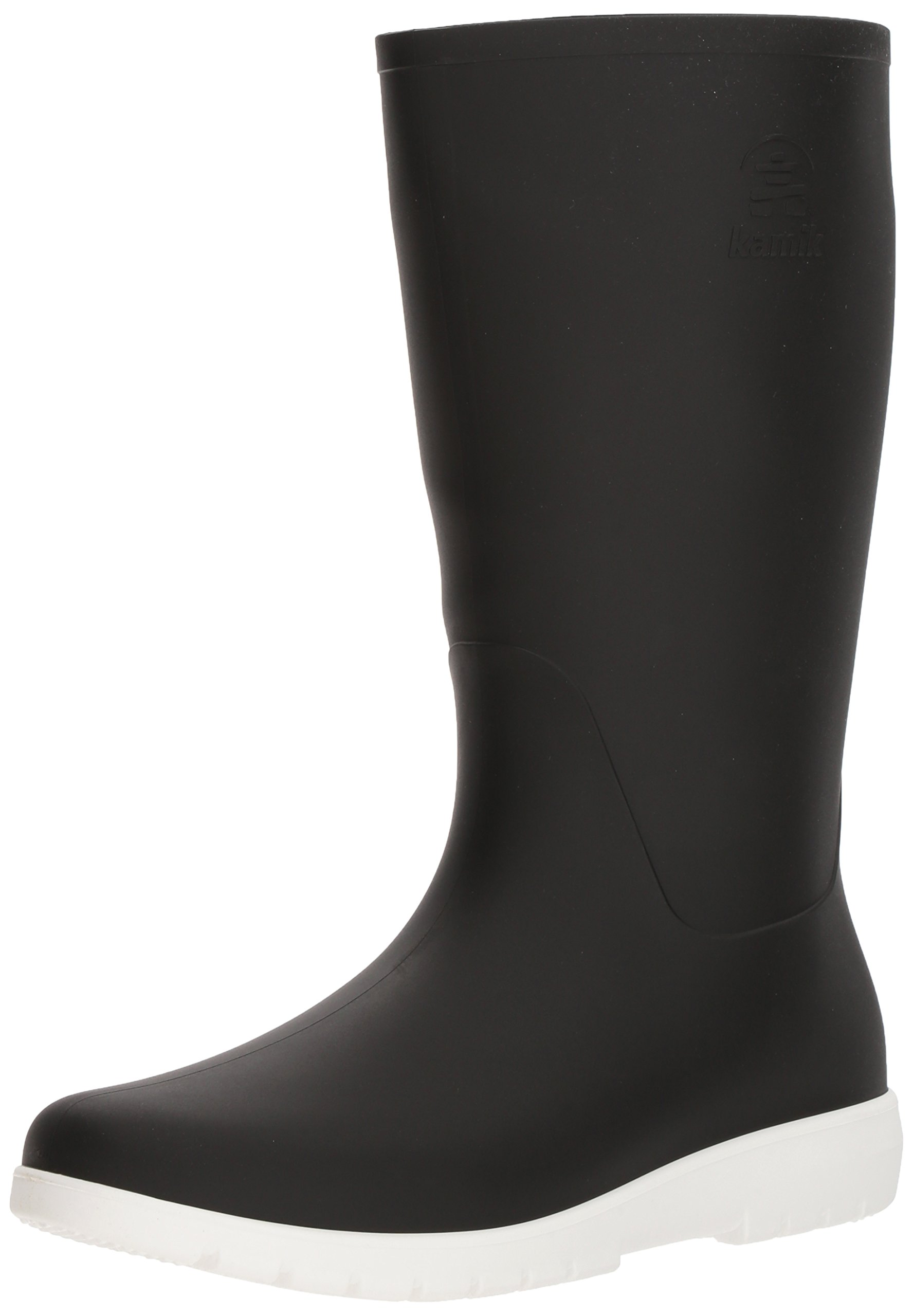 Kamik Women's Jessie Rain Boot, Black and White, 10 Medium US