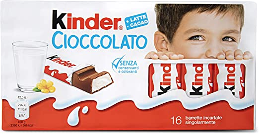 Kinder Tableta Chocolate con Leche Caja - 16 x 12.5 g: Amazon.es: Alimentación y bebidas