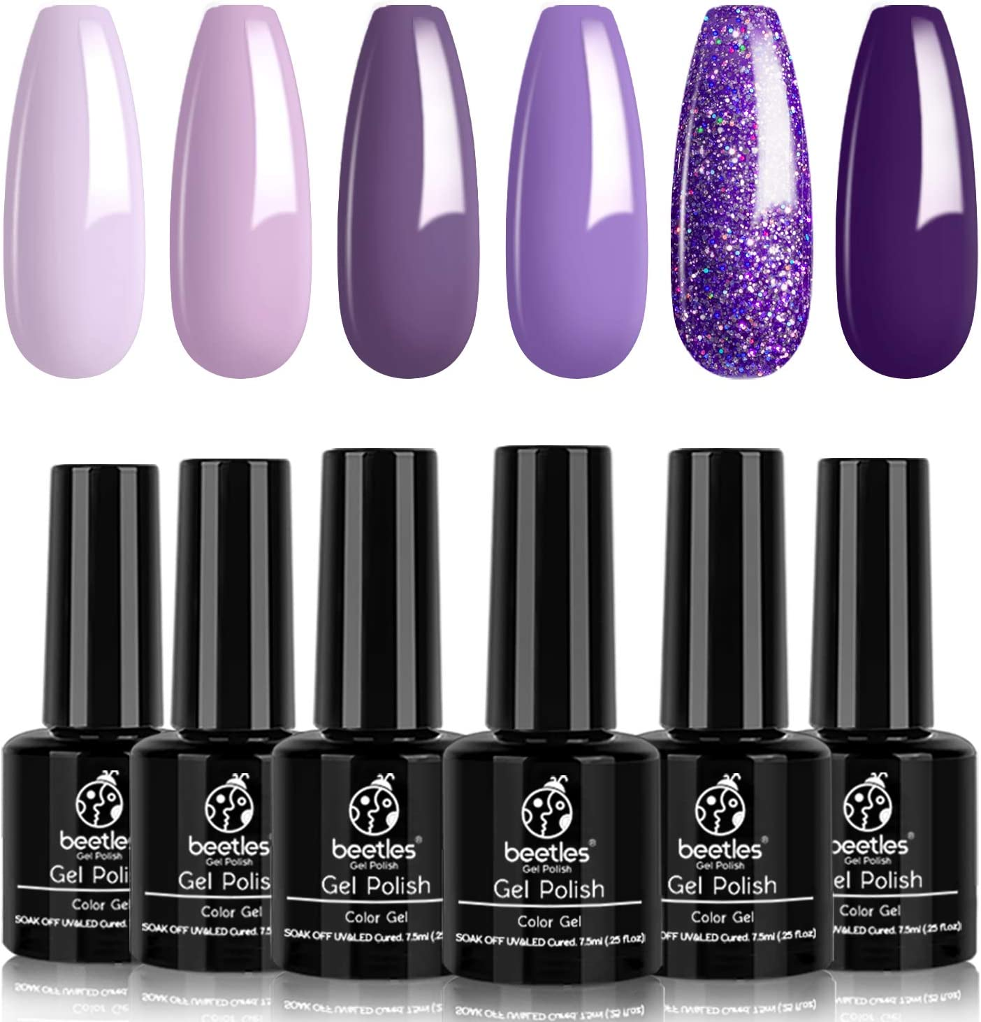 Beetles Purple Gel Nail Polish Kit- 6 Colors Gel Polish Set Grape Purple Nail Polish Soak Off LED Gel Nail Kit Nail Art Manicure Salon DIY at Home
