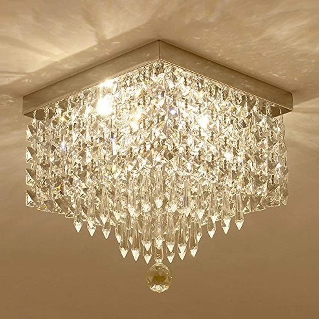 Moooni Hallway Crystal Chandelier Modern Square Raindrop Flush Mount Ceiling Light Fixture for Closet Foyer W12