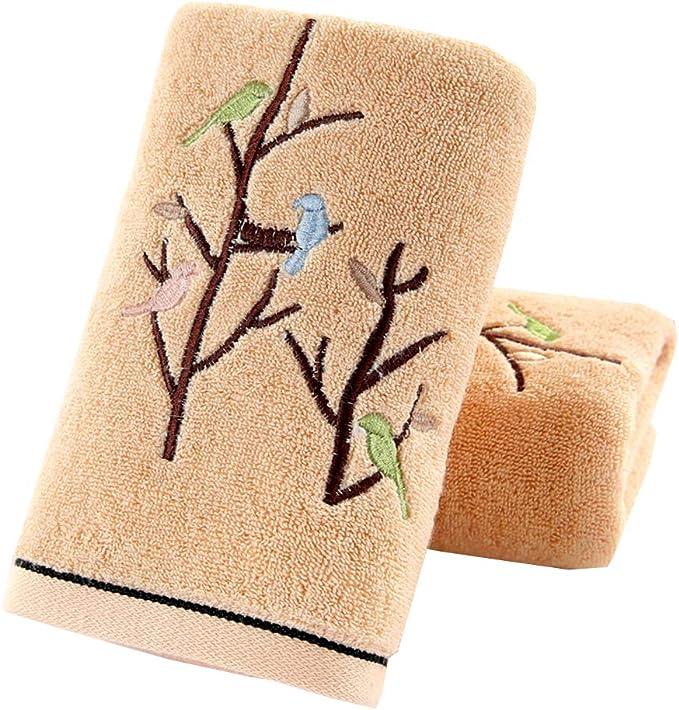 Avanti Bath and Hand Towel Set White /& sienna Brown Geo embroidery-Set of 2