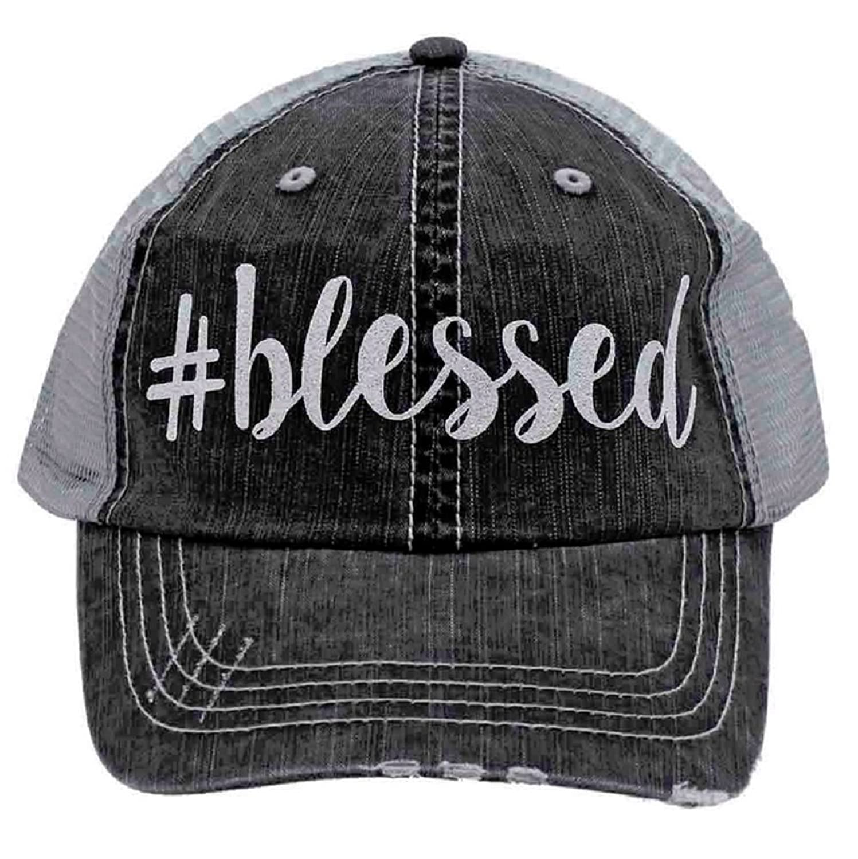 d98e108c933  Blessed in Glitter Print Women s Trucker Hat- Gray Mesh Back