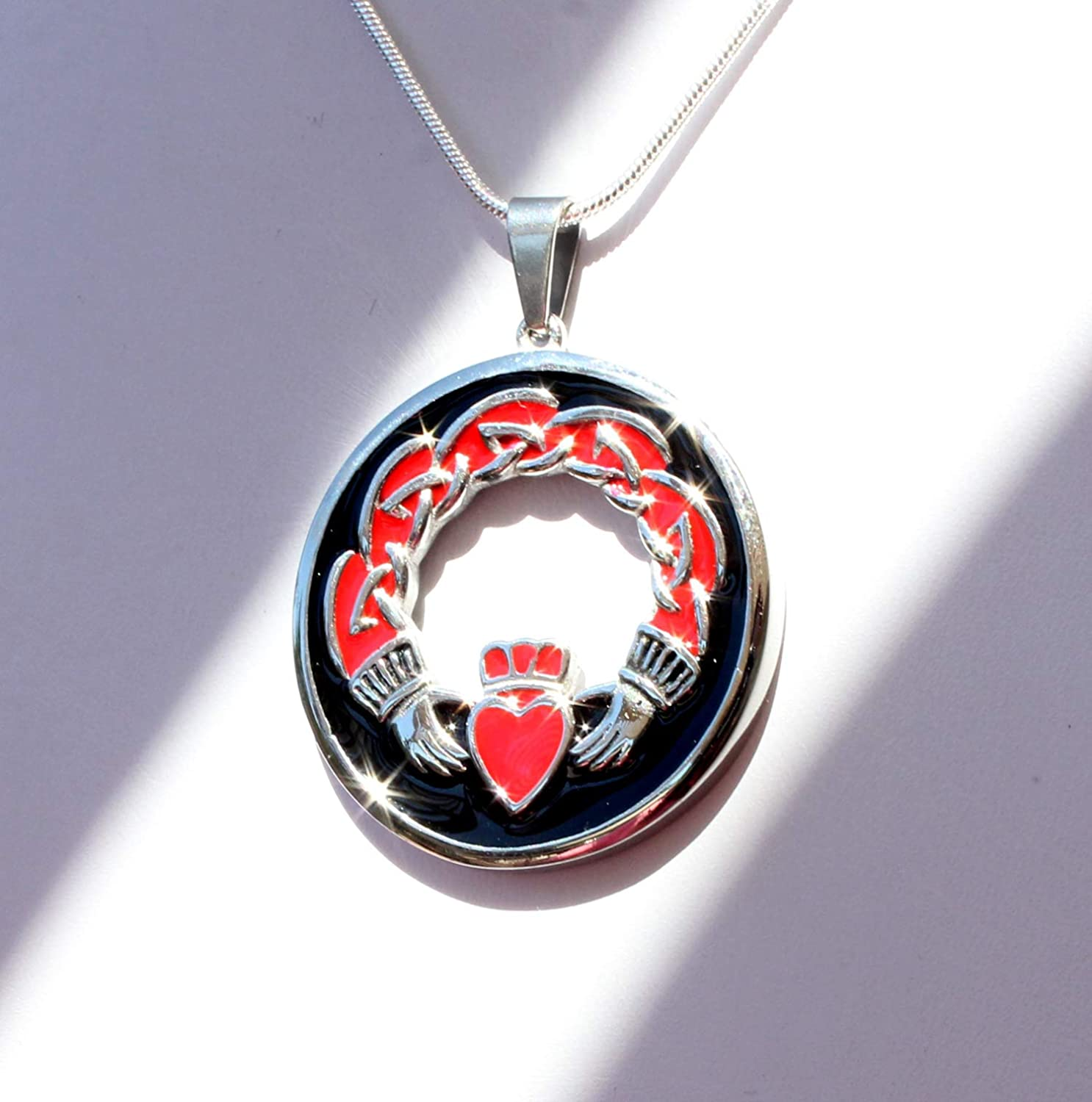 Beautiful Silver Jewelry Celtic Claddagh Heart Stainless Steel Red and Black Pendant 20 Inch Necklace in Gift Box