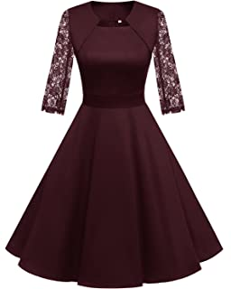 64933030ac Homrain Women s 1950s Retro Vintage A-Line Long Sleeves Cocktail Swing  Party Dress