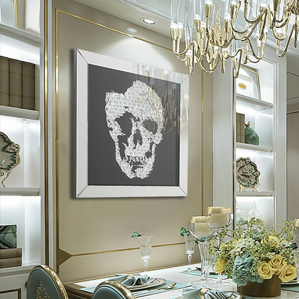 Warmiehomy Grande Specchio da Parete 3D Teschio di Cristallo ...
