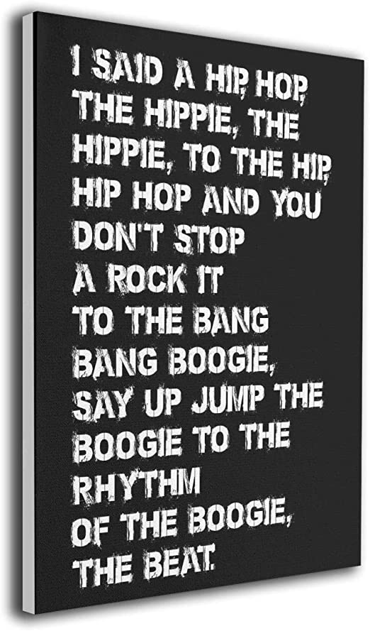 Various sizes RAPPERS DELIGHT FAMOUS SONG LYRICS BLACK Canvas Wall Art