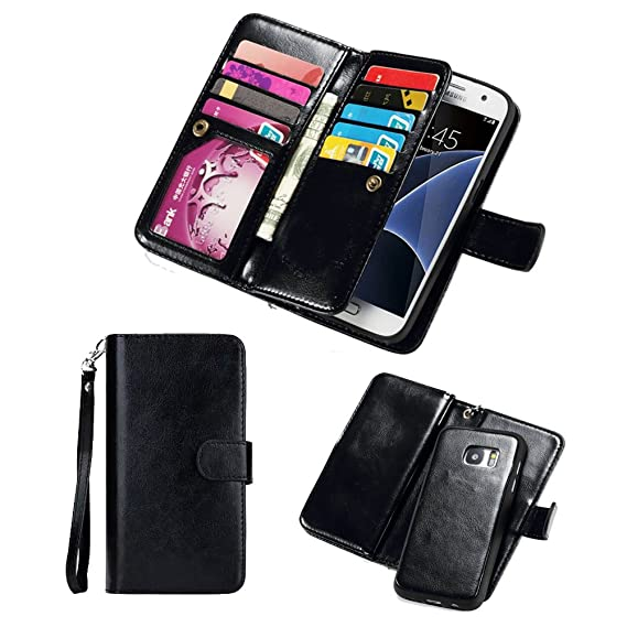 sports shoes 01983 39094 For Samsung Galaxy S7 Edge Wallet Case,Valentoria Premium Vintage Leather  Wallet Case Magnetic Detachable Slim Back Cover Card Holder Slot Wrist  Strap ...