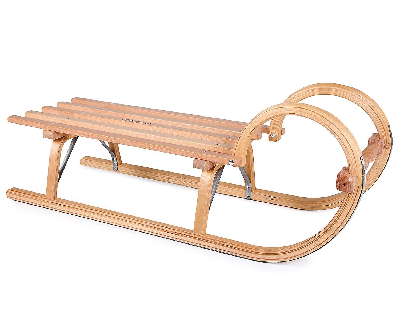 Ondis24 Hörnerschlitten aus Holz mit Lattensitz Schneerutscher Rodel Holzschlitten Gebirgsrodel 100 cm