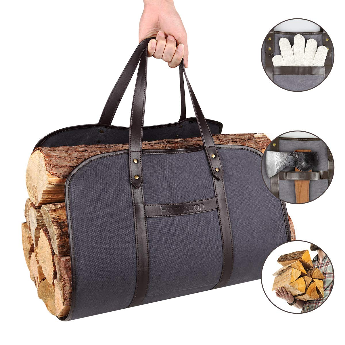 Waxed Canvas Firewood Carrier, HAMSWAN Fireplace Sturdy Wood Carring Bag with Handles Gloves for Camping Indoor Firewood Logs Tote Holder Birchwood Stand by HAMSWAN