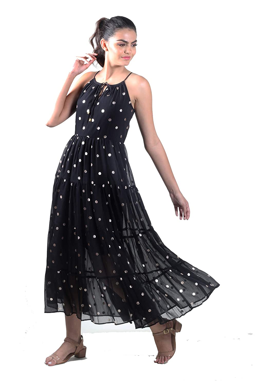 Sleeveless Layer Polka Dots  Dress