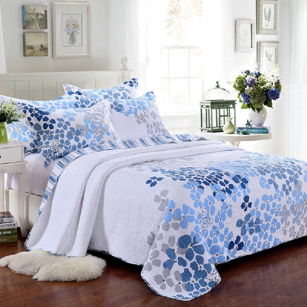 100% Cotton 3-Piece Blue Floral Pattern Country Patchwork Bedspreads Quilt Set Fit Queen