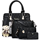 Soperwillton Handbag for Women Tote Bag Shoulder Bags Satchel 4pcs Purse Set