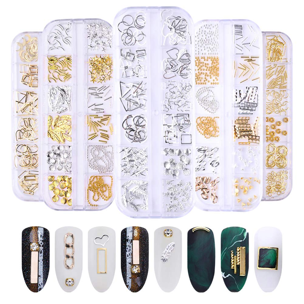 NICOLE DIARY Studs Nail Art Set Gold Silver Metal Nail Rivets Artificial Feather Irregular 3D Nail Art Decoration Ultra-thin Punk Rhinestones and Tweezer Manicure DIY Nail Tools by NICOLE DIARY