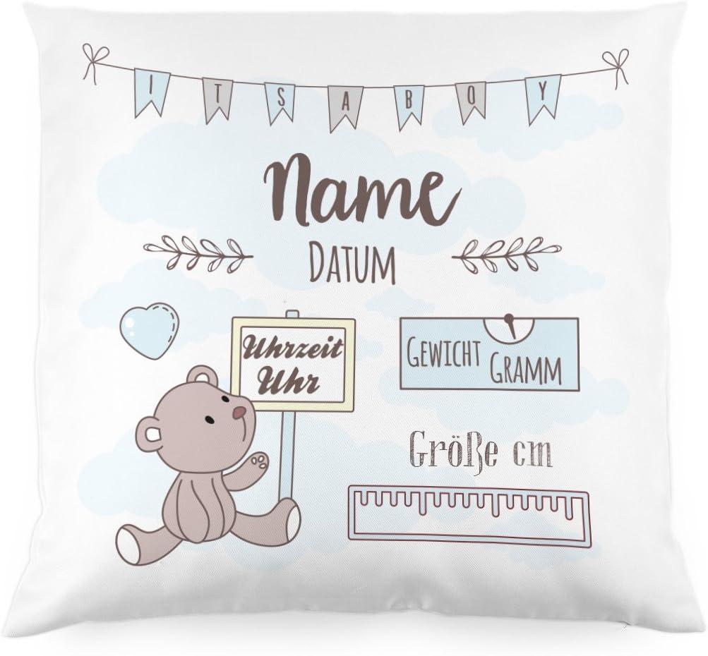 Babygeschenk oder Geburtskissen Junge Teddyb/är Striefchen/® Kissen als Geschenk zur Taufe oder Geburt mit Namen /& Datum