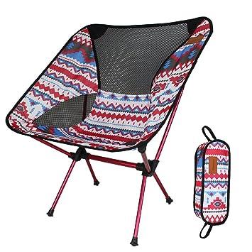 Silla Plegable de Camping Muy Ligera y Compacta Perfecto para Senderismo, Camping, Playa Pesca (Peso Neto Sólo 1 kg, Capacidad de Peso 150 kg)