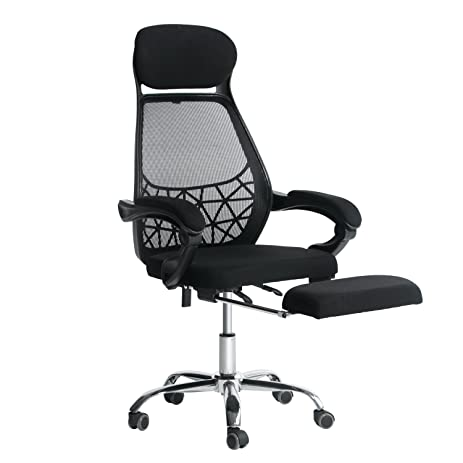 everking high back mesh recliner office chair with footrest ergonomic executive task reclining chair