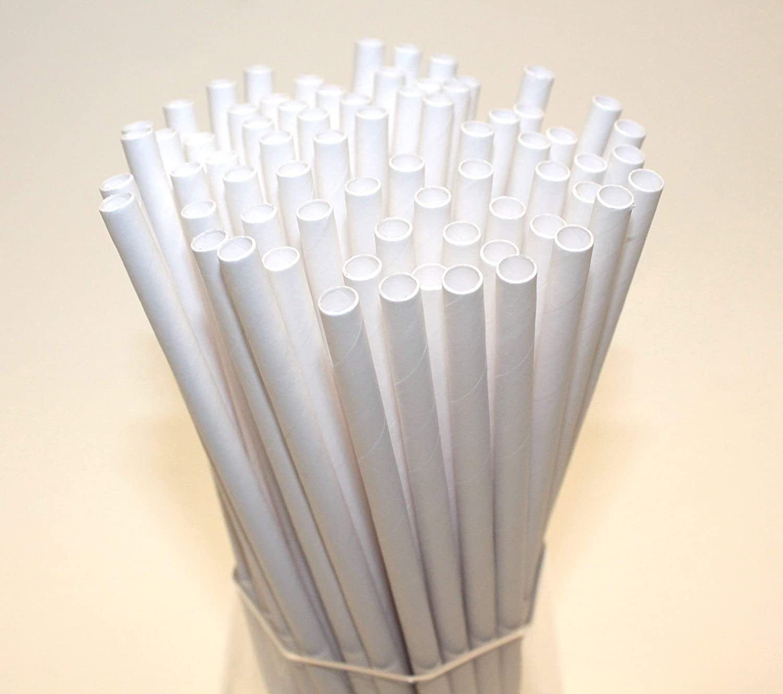 Pajitas de Papel Biodegradables Respetuoso con el Medio Ambiente - 75 Unidades Pajitas de Papel Blanco Apto Para Todas las Ocasiones 6mm x 200mm Altamente Durable