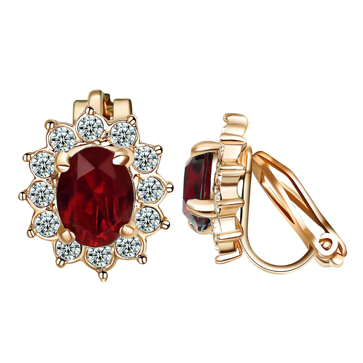 Yoursfs Clip Earrings For women Vintage Style 18K Rose Gold Plated Ruby Halo Earrings