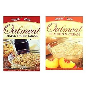 Healthwise - Maple Brown Sugar & Peaches & Cream Oatmeal (2 Pack) - High Protein, Low Calorie, Low Sugar, 7 Servings Per Box