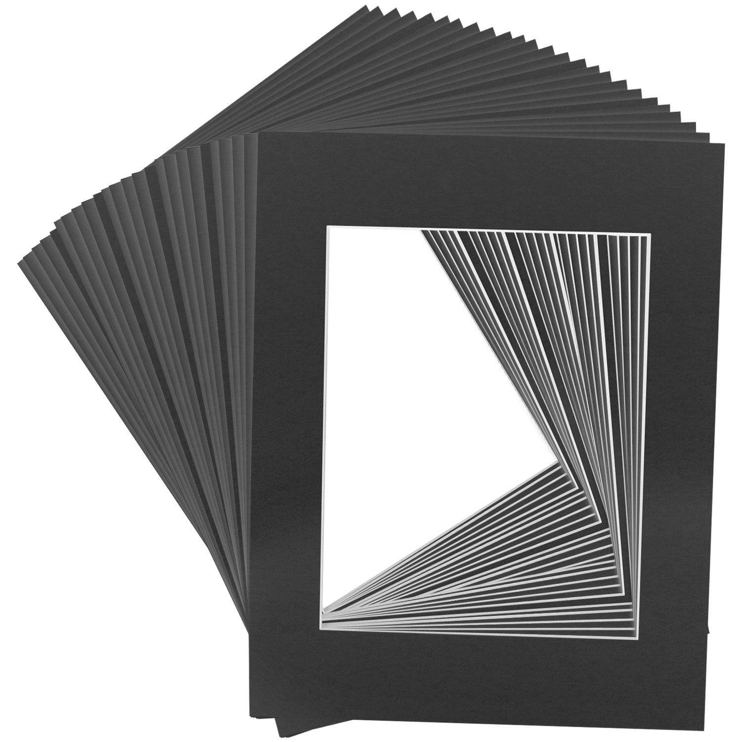 US Art Supply Art Mats Acid-Free Pre-Cut 16x20 Black Picture Mat Matte Sets. Includes a Pack of 25 White Core Bevel Cut Mattes for 11x14 Photos, Pack of 25 Backers & 25 Clear Sleeve Bags by US Art Supply (Image #2)