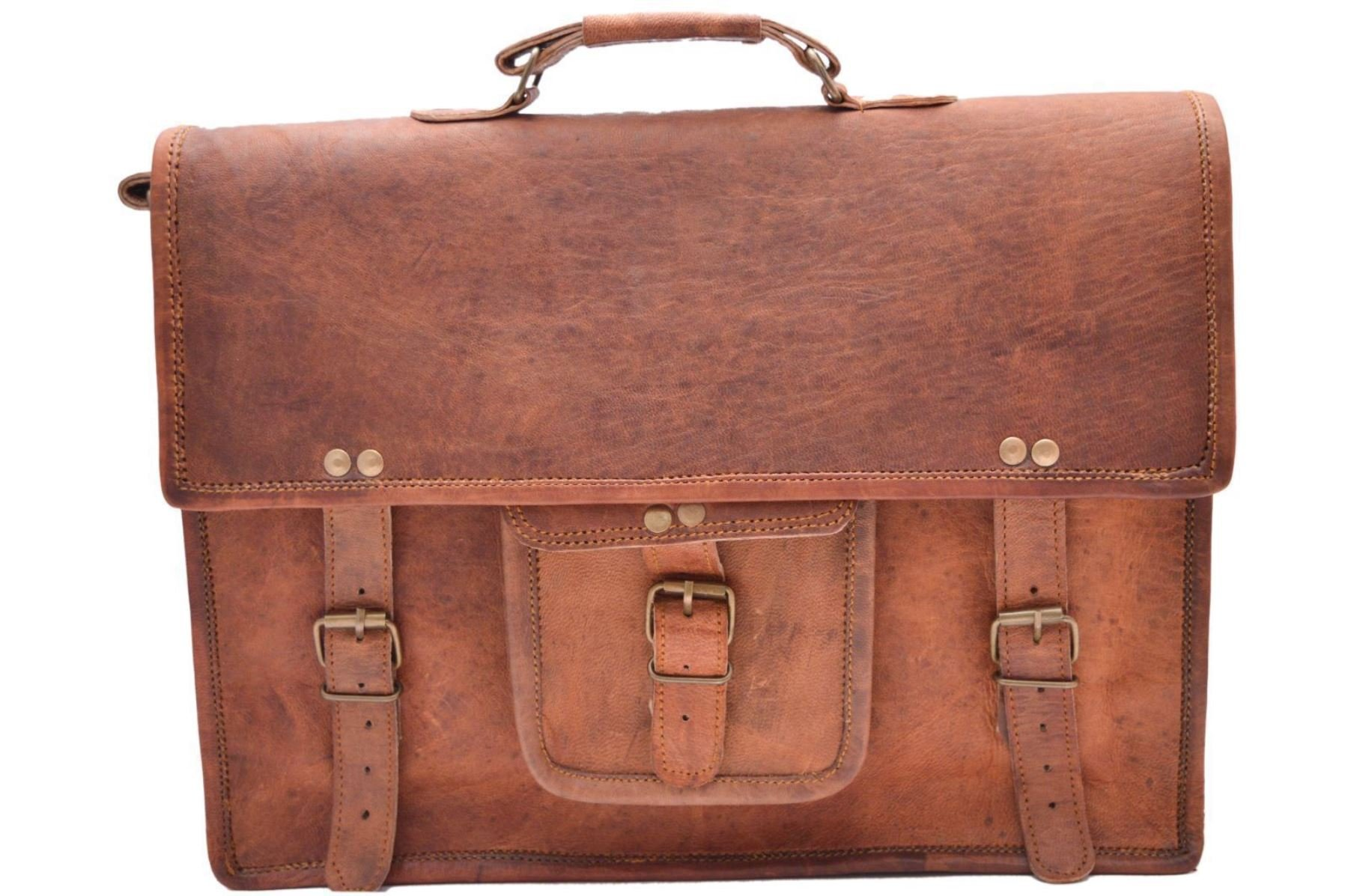 Handcrafted exports 15'' Vintage Rustic Leather Laptop Briefcase Messenger Bag