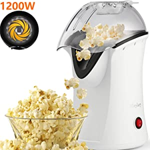 1200W Hot Air Popcorn Popper No Oil Popcorn Maker with Measuring Cup and Removable Top Cover