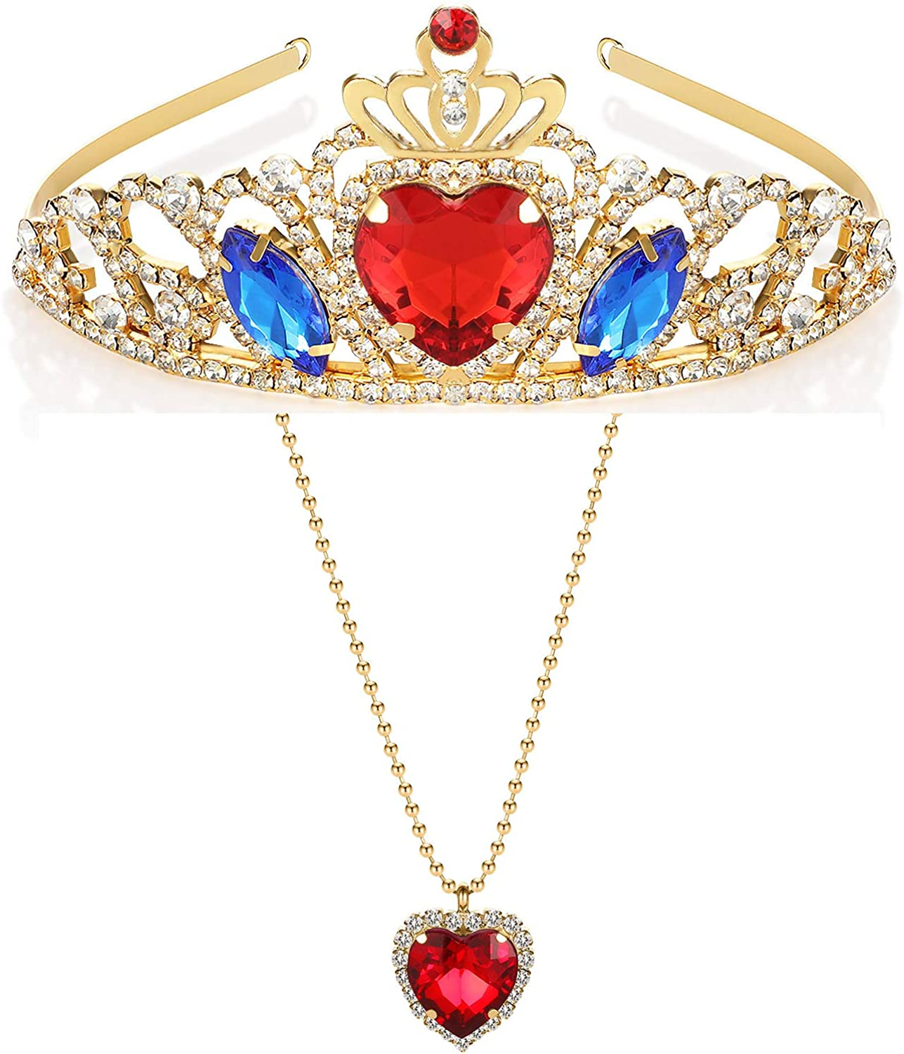 Evie Descendants 3 Crown and Necklace Red Heart Gold Tiara Queen of Evie Hearts Necklace Jewelry Set for Evie Birthday Outfit