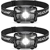 2 Pack of Rechargeable Headlamp, LED Headlamp, Head lamps for Adults, Flashlight with White Red Lights,USB Rechargeable…