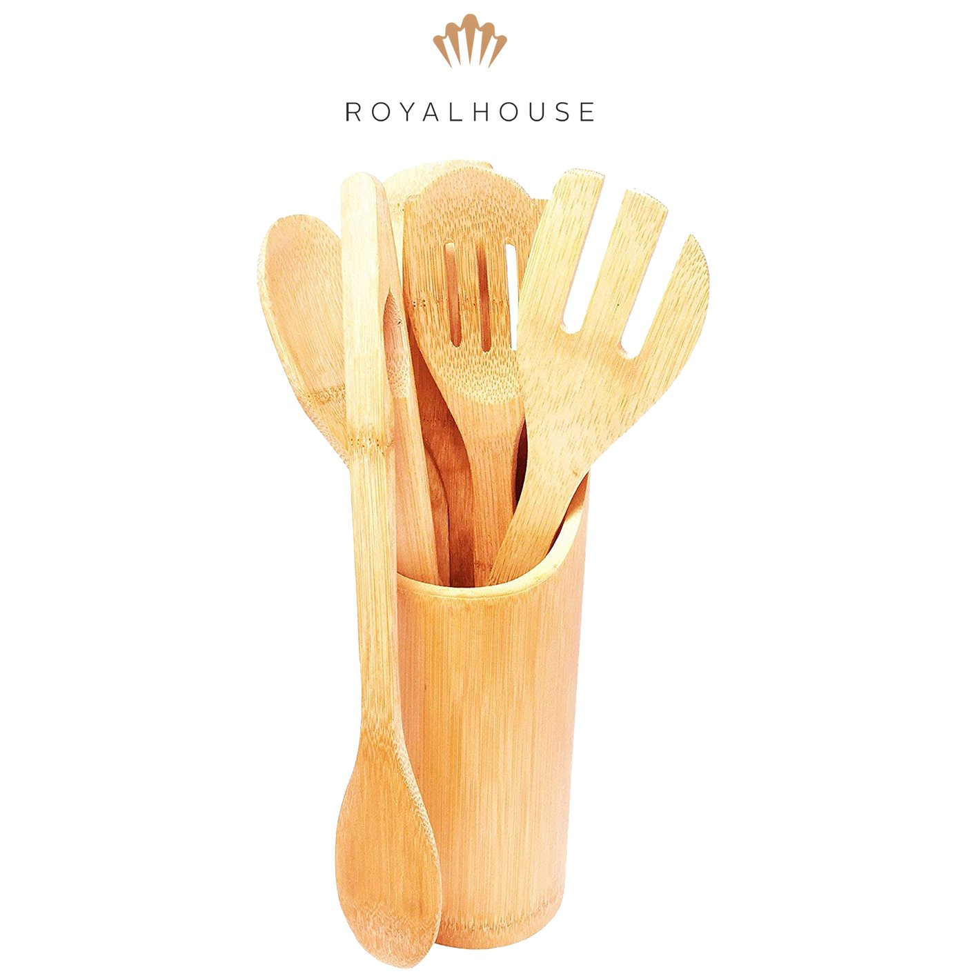 Bamboo Kitchen Utensils Set of 6 – Cooking & Serving Set made of Natural Bamboo with variety of wooden Spatulas, Spoons and Holder