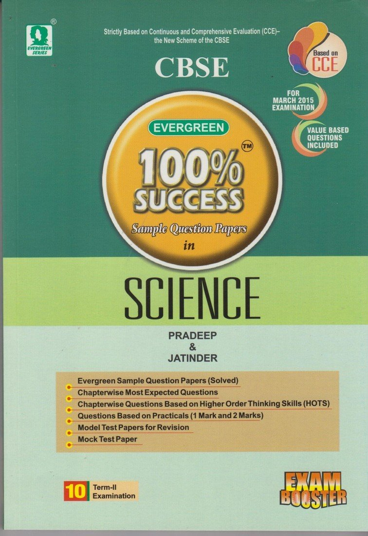 Buy CBSE Evergreem 100% Success Sample Question Papers in Science Class 10  (Term II) Book Online at Low Prices in India | CBSE Evergreem 100% Success  Sample ...