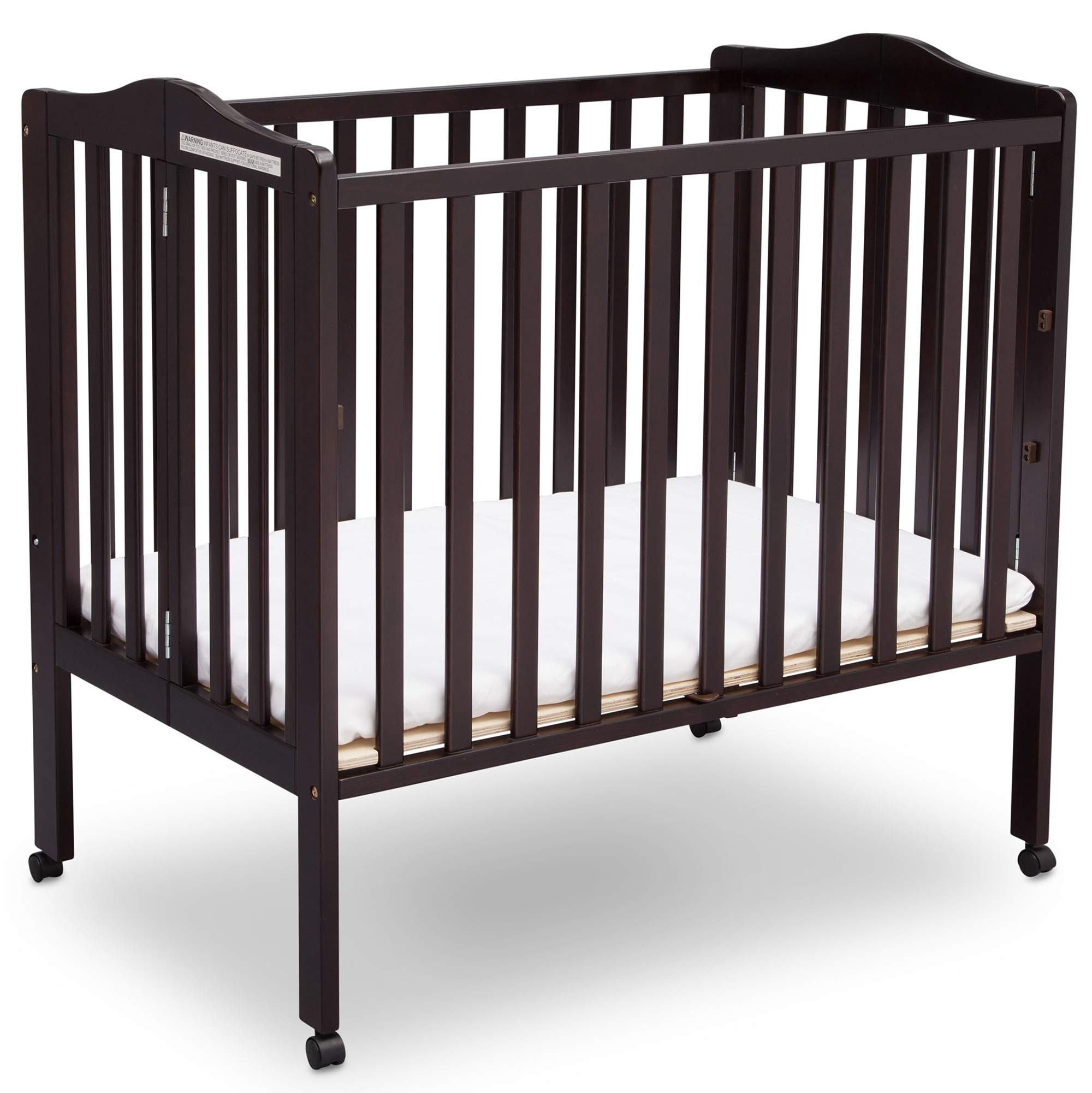 Delta Children Delta Children Folding Portable Mini Baby Crib with Mattress, Dark Espresso, Dark Espresso by Delta Children (Image #1)