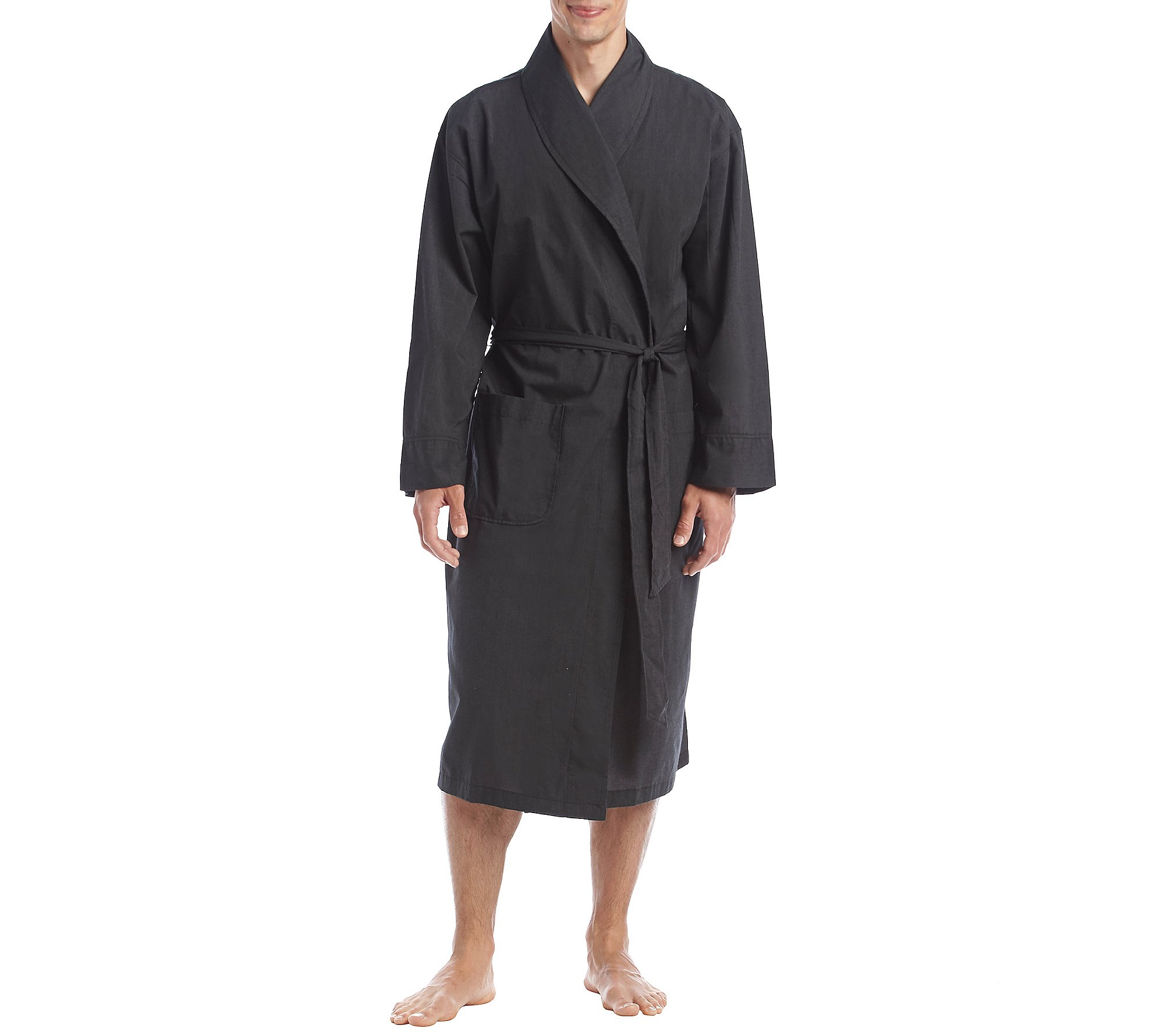 Hanes Men's Tall Size Woven Shawl Collar Robe, black Extra Large/2X-Large