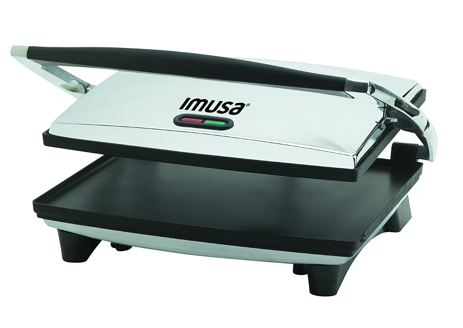 IMUSA USA GAU-80102 Large Electric Panini Press 1400-Watts, Silver