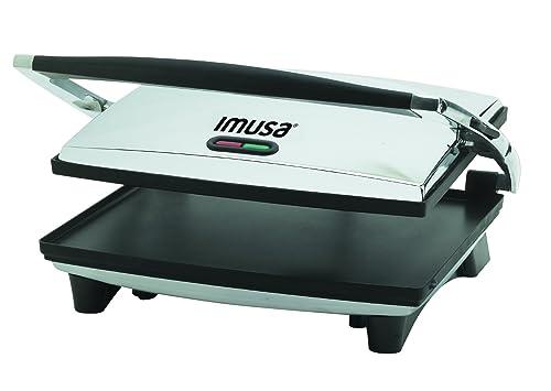 Imusa GAU-80102 Large Electric Panini Press 1400-Watts - Silver