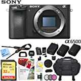 Sony Alpha a6500 Mirrorless Digital Camera 24.2MP (Black) Body Only ILCE-6500/B with Extra Battery Case 32GB Memory Card Deluxe Pro Bundle (Body Only Utility Kit)