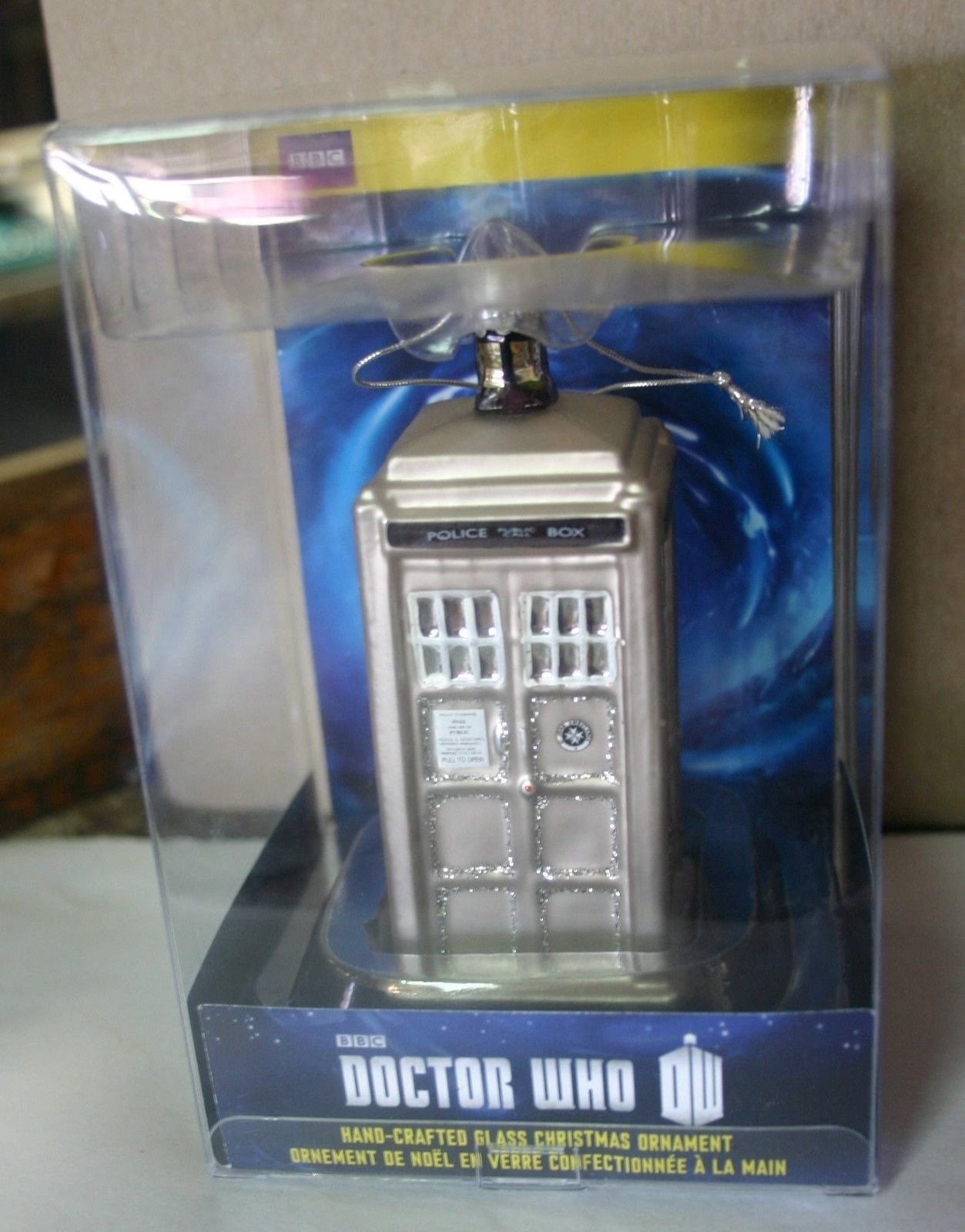 Doctor Who Tardis Silver Limited Edition 50th Anniversary Police Call Box Glass Christmas Ornament