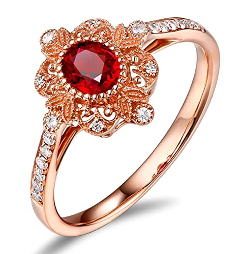 Epinki 18k Oro Anillos para Mujer Flores Hoja Anillo Propuesta Matrimonio Anillo de Diamante Rose Oro