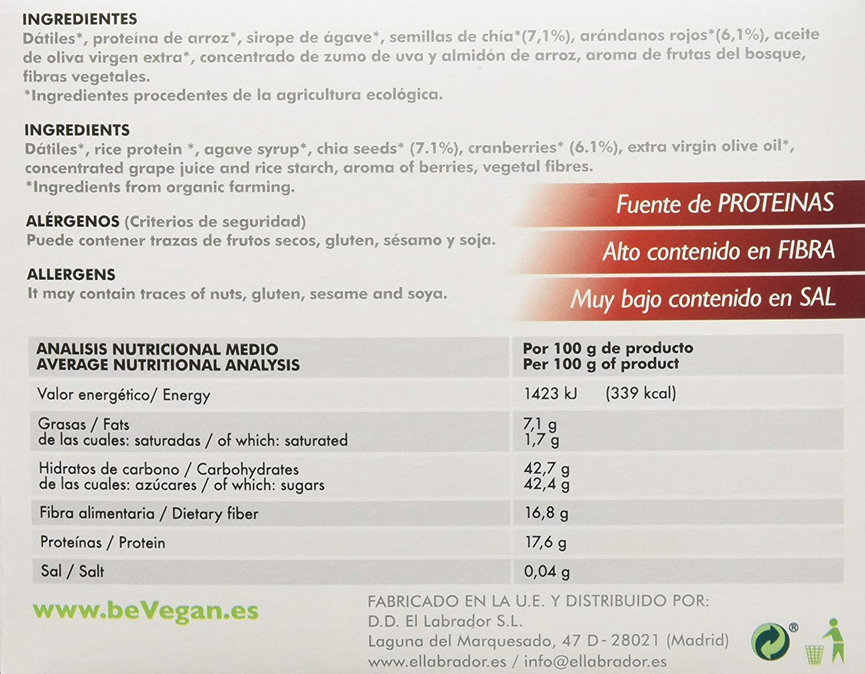 BeVegan Cranberry and Chia Bio Proteic Bars 25 X 35 Gr ...