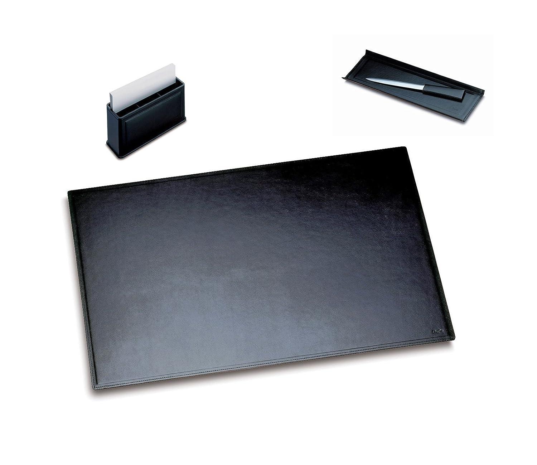 Läufer Ambiente MONZA 32763 - Set di 3 accessori per scrivania con 1 sottomano 45 x 65 cm, 1 portapenne, 1 scatola multiscomparto Combi-Box, colore: Nero