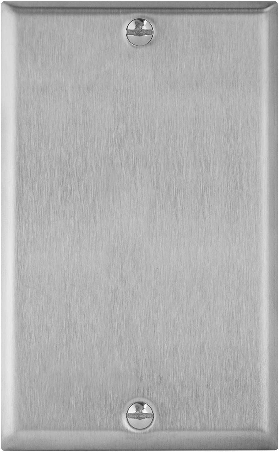 """ENERLITES Blank Device Metal Wall Plate, Corrosion Resistant, Size 1-Gang 4.50"""" x 2.76"""", UL Listed, 7701, 430 Stainless Steel, Silver"""